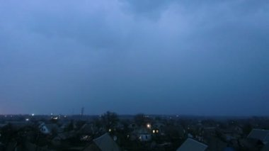 Thunderstorm over the city at night. Timelapse — Stock Video