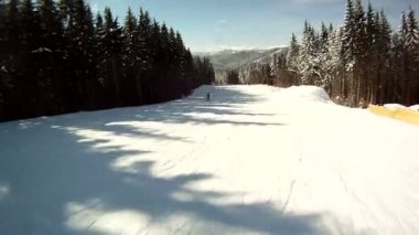 Skier rides on the ski slopes. First-person view. — Stock Video