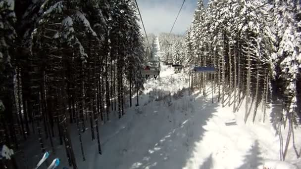 Esquiador se levanta en los remontes de esquí. Panorama y paisajes de montañas, árboles cubiertos de nieve. Vista desde el ascensor de esquí. — Vídeo de stock