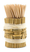 Wooden toothpicks on white background isolate — Stock Photo