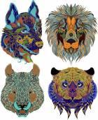 Stylized ethnic beasts — Stock Vector