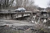 Destroyed bridge — Stock Photo