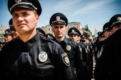 New police patrol took the oath — Stock Photo