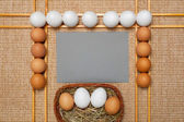 Gray paper and eggs on background — Stock Photo