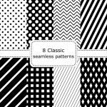 Conjunto de 8 negro - blancos patrones sin fisuras — Vector de stock  #81406520
