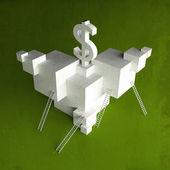 Finance dollar art illustration paper and  green — Stockfoto