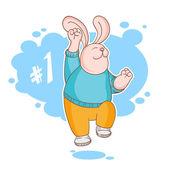 Jumping rabbit winner — Stockvektor