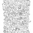 Crowd of funny people faces — Stock Vector #65394565