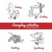 Housework and hobbies elements — Stock Vector
