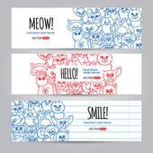 Kočky bannery šablona — Stock vektor