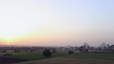 Pyramids of Egypt  at sunset — Stock Video