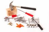 Zestaw śrub i narzędzi roboczych — Zdjęcie stockowe