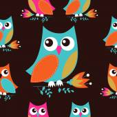 Colorful owls background — Stock Vector