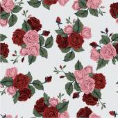 Floral pattern with red and pink roses — Stock Vector