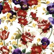 Pattern with tulips, pansy and dog rose — Stock Photo #66409051