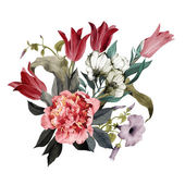 Watercolor Bouquet of peonies and tulips — Stock Photo