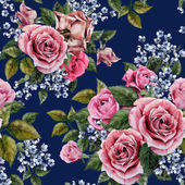 Watercolor roses floral pattern — Stock Photo