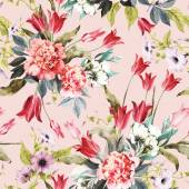 Floral pattern with tulips and peonies — ストック写真