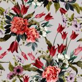 Floral pattern with tulips and peonies — Stock Photo