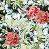 Seamless floral pattern with roses and eustoma — Stock Photo