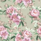 Floral pattern with pink peonies — Stock Photo