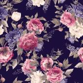 Floral pattern with peonies and delphinium — Stock fotografie