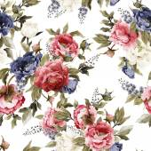 Floral pattern with peonies and delphinium — Stock Photo