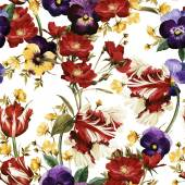 Pattern with tulips, pansy and dog rose — Stock Photo