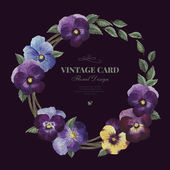 Greeting card with pansy — Stock Photo