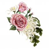 Bouquet of watercolor chrysanthemum and roses — Stock Photo