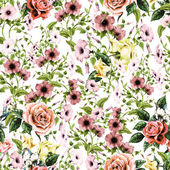 Watercolor convolvulus and roses pattern — Stock Photo