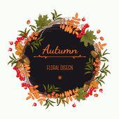 Autumn wreath of mountain ash — Stock Vector
