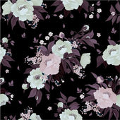 Floral pattern with roses and peony — Stock Vector