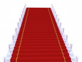 Red carpet unrolling — Stock Photo