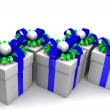 Multicolored gift boxes with colorful ribbons — Stock Photo #65869505