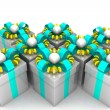 Multicolored gift boxes with colorful ribbons — Stock Photo #65869847