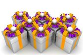 Multicolored gift boxes with colorful ribbons — Стоковое фото