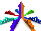 Bright 3d arrows in merging — Stock Photo