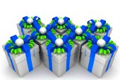 Multicolored gift boxes with colorful ribbons — Stok fotoğraf