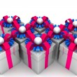 Multicolored gift boxes with colorful ribbons — Stock Photo #65870615