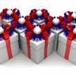 Multicolored gift boxes with colorful ribbons — Stock Photo #65870661