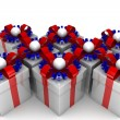 Multicolored gift boxes with colorful ribbons — Stock Photo #65870699