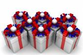 Multicolored gift boxes with colorful ribbons — Stock Photo