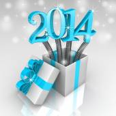 Brilliant 2014 pops out of a gift box. — Stock Photo