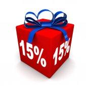 Percents on red box — Zdjęcie stockowe