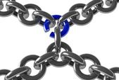 Chain with one link about to break — Stockfoto