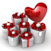 White gift boxes and heart. — Stock Photo