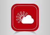 Sun behind cloud web icon — Stock Vector