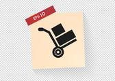 Wheelbarrow for transportation of cargo icon — Stock Vector