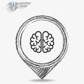 Web Icon brain isolated — Stock Vector